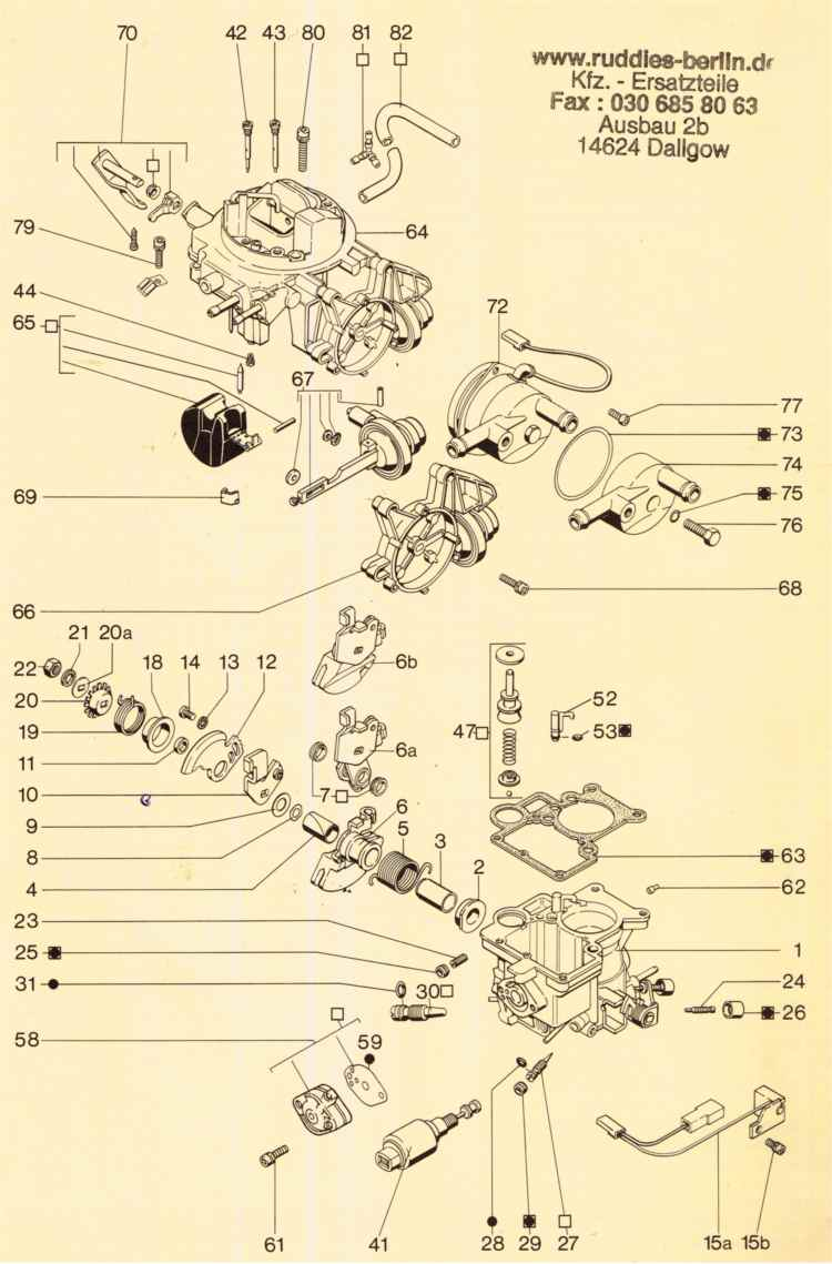 Pierburg 1b3 1b1 Ersatzteilliste Vergaseraudi Vw Db Opel